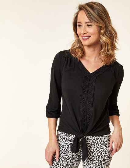 Black Crochet Front Tie Top, Black, hi-res
