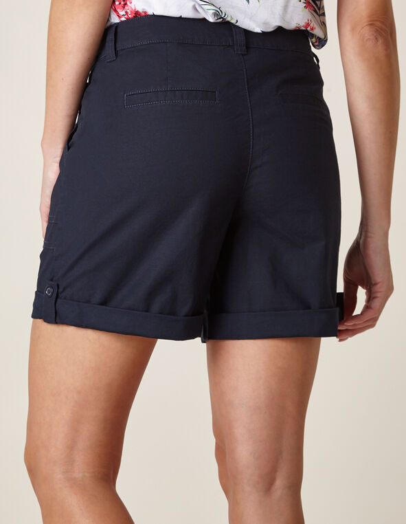 Navy Poplin Short, Navy, hi-res