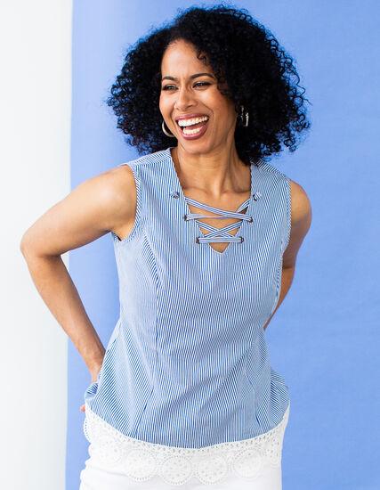 Blue Striped Lace Bottom Top, Blue, hi-res