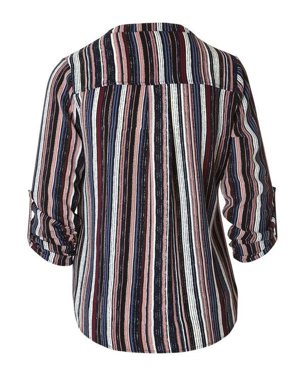 Striped Button Bubble Hem Blouse, Navy, hi-res