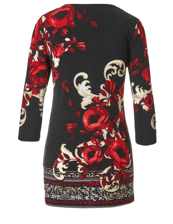 Red Floral Print Tunic, Red Floral, hi-res