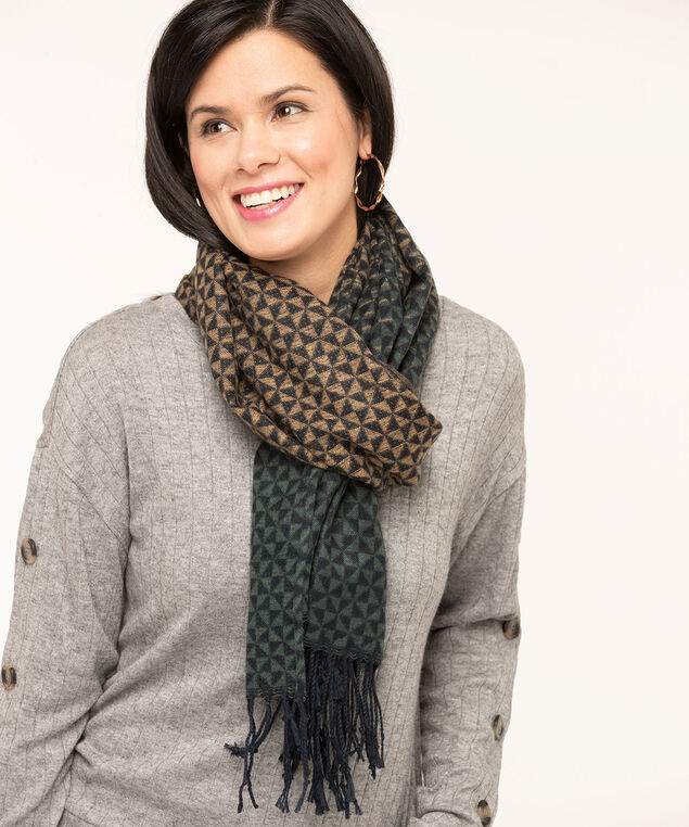 Soft Ombre Geo Pattern Scarf, Forest Green, hi-res
