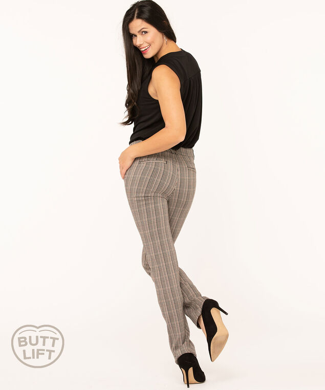 Plaid Butt Lift Straight Leg Pant, Brown/Ivory/Black, hi-res
