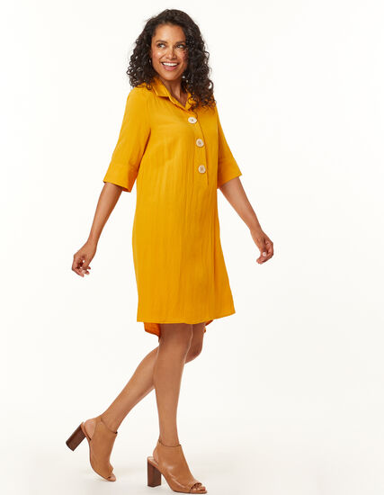 Ochre Shirt Dress, Yellow, hi-res