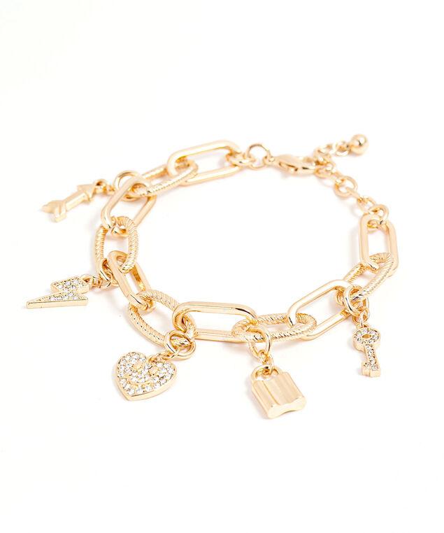 Chain Link Charm Bracelet, Gold