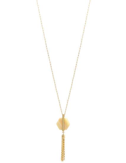 Gold Stone Pendant Long Necklace, Gold, hi-res
