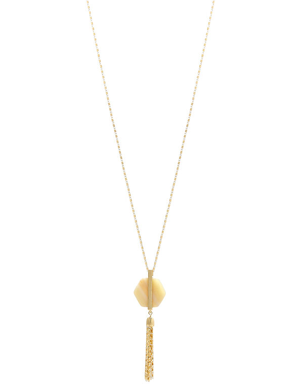 Gold Stone Pendant Long Necklace, Gold