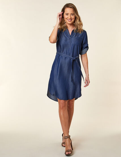 Tencel Tie Waist Shirt Dress, Blue, hi-res