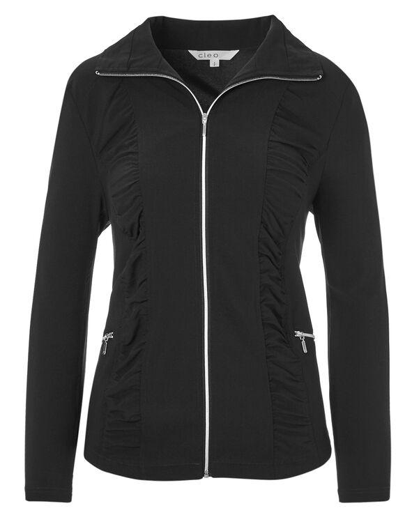 Black Soft Ruched Jacket, Black, hi-res
