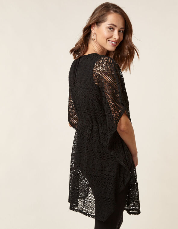 Black Crochet Pullover Cover Up, Black, hi-res