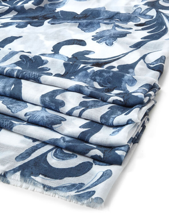 Blue Damask Printed Scarf, Blue, hi-res