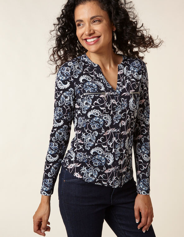 Navy Paisley Printed Top, Navy, hi-res