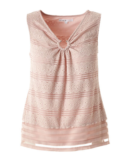 Pink Lace Overlay Top, Pink, hi-res