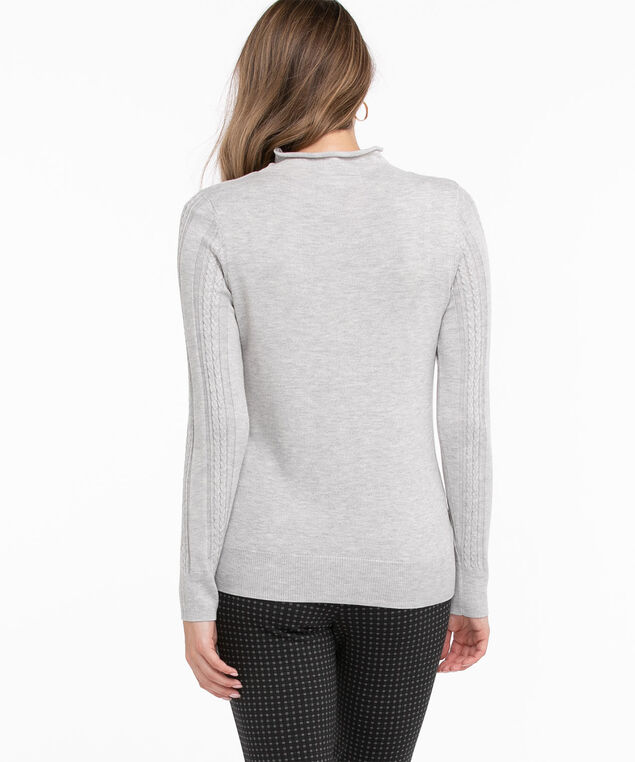 Recycled Mock Neck Sweater, Grey Mix