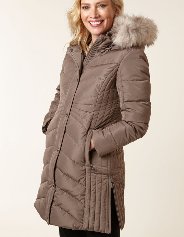 Taupe Down Quilted Coat, Taupe, hi-res