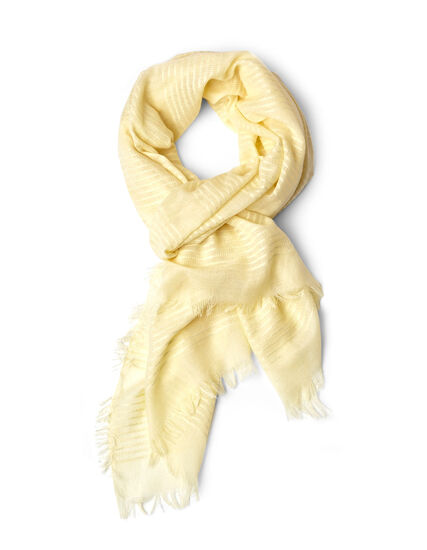 Yellow Lurex Striped Scarf, Yellow, hi-res