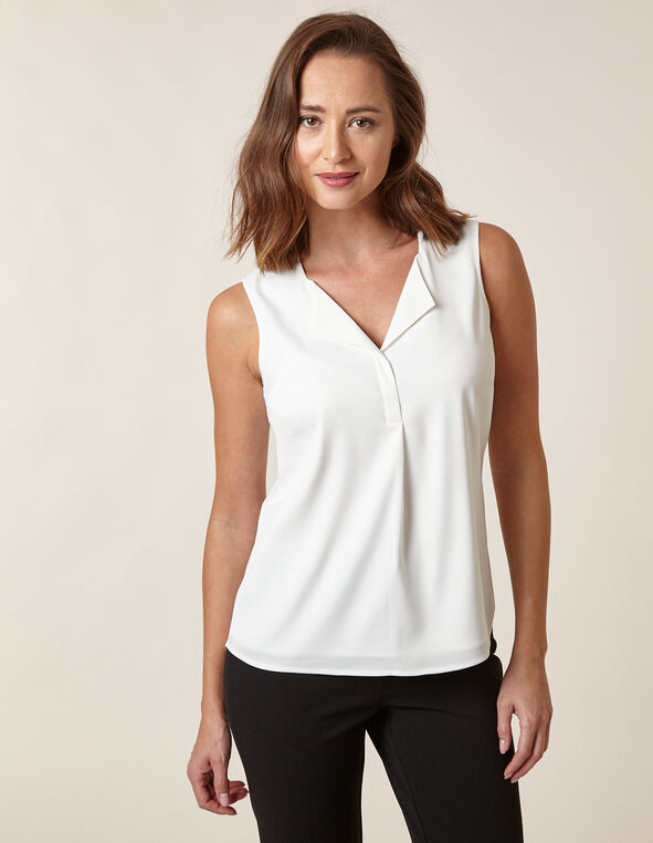 Ivory Sleeveless Blouse, Ivory, hi-res