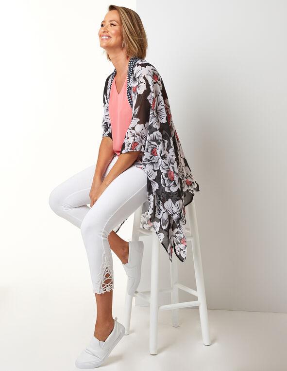 Pink Floral Kimono, Black/Pink, hi-res