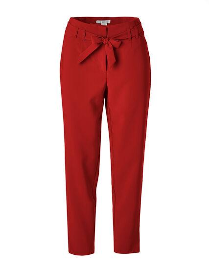 Crimson Belted Slim Leg Pant, Crimson, hi-res