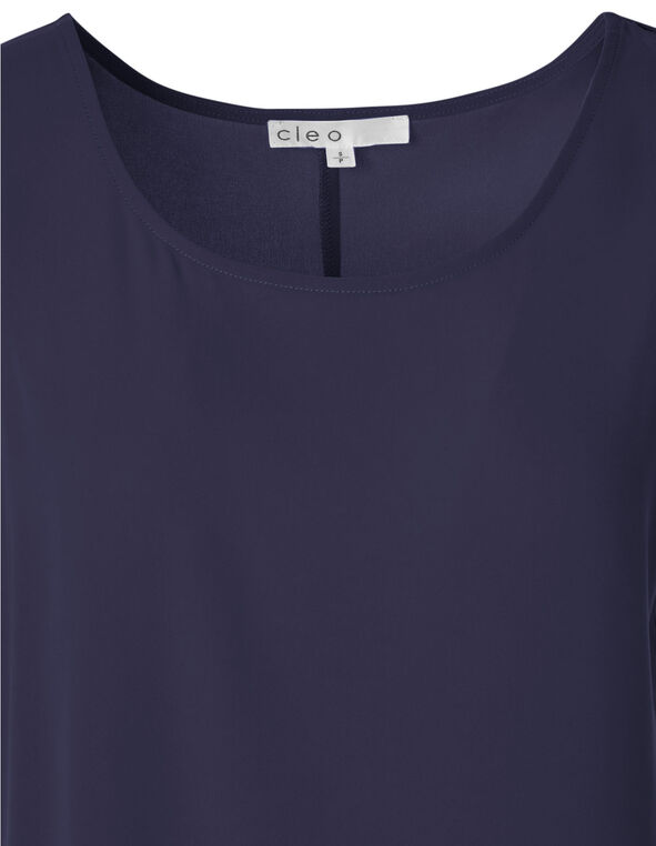 Navy High-Low Hem Blouse, Navy, hi-res