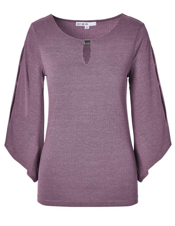 Lilac Jacquard Knit Top, Lilac, hi-res
