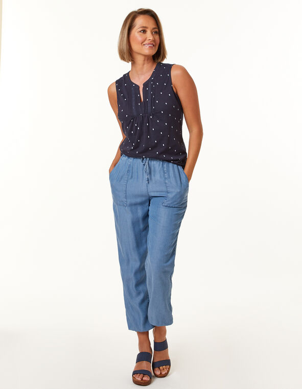 Tencel Pull-On Jogger, Blue, hi-res