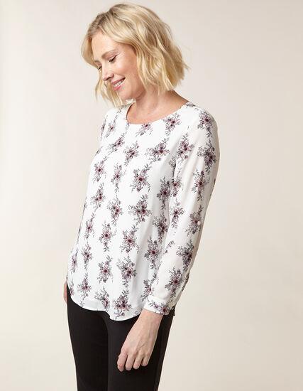 Floral Patterned Blouse, White, hi-res