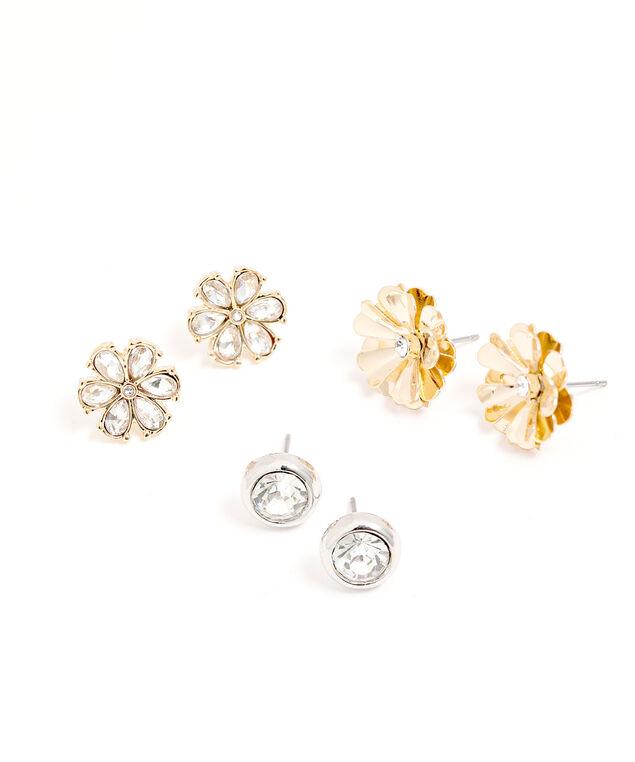 Flower Stud Earring Trio, Gold/Silver