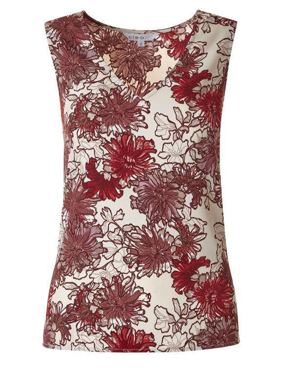 Red Floral Basic Blouse, Red, hi-res