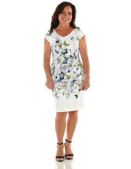 White Butterfly Cotton Sheath Dress, White, hi-res