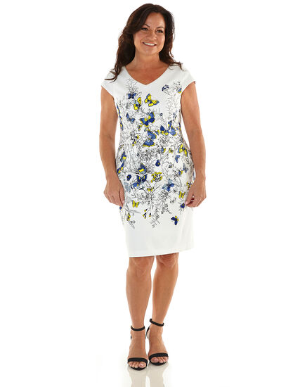 White Butterfly Cotton Sheath Dress, White, hi-res