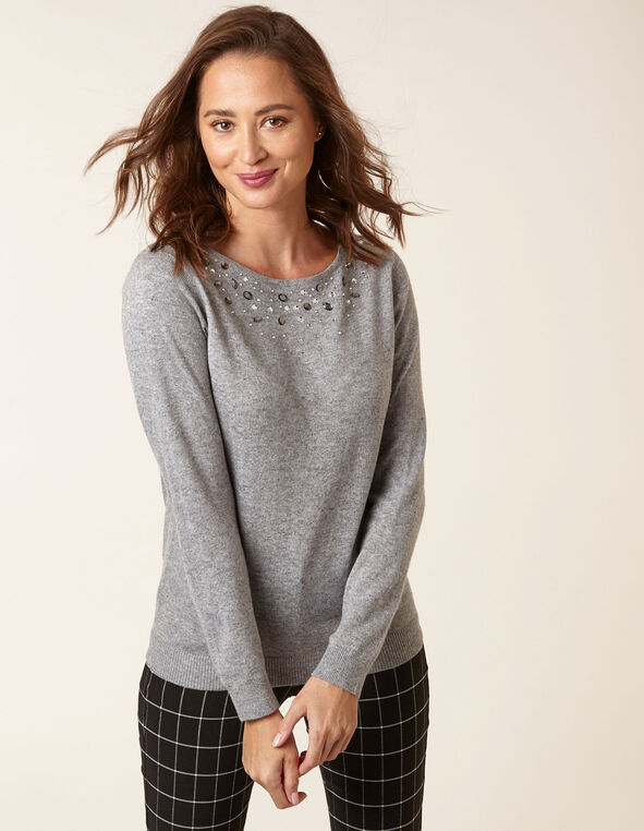 Grey Wool Blend Embellished Pullover, Grey, hi-res