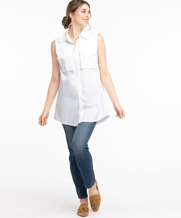 Cotton Sleeveless Tunic Blouse, White