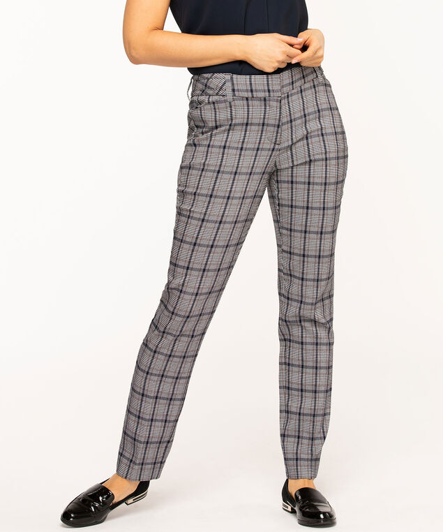 Navy/Ivory Plaid Slim Leg Pant, Navy/Ivory Plaid