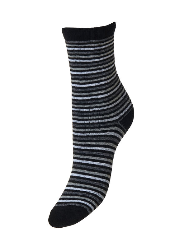Black Striped Crew Sock, Black/Grey/White, hi-res