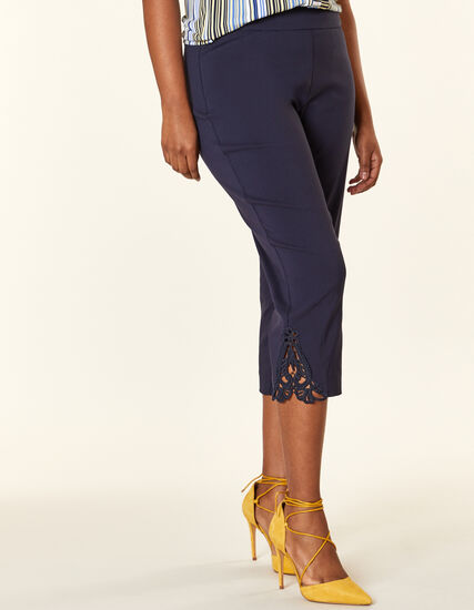 Navy Lace Slim Capri, Navy, hi-res