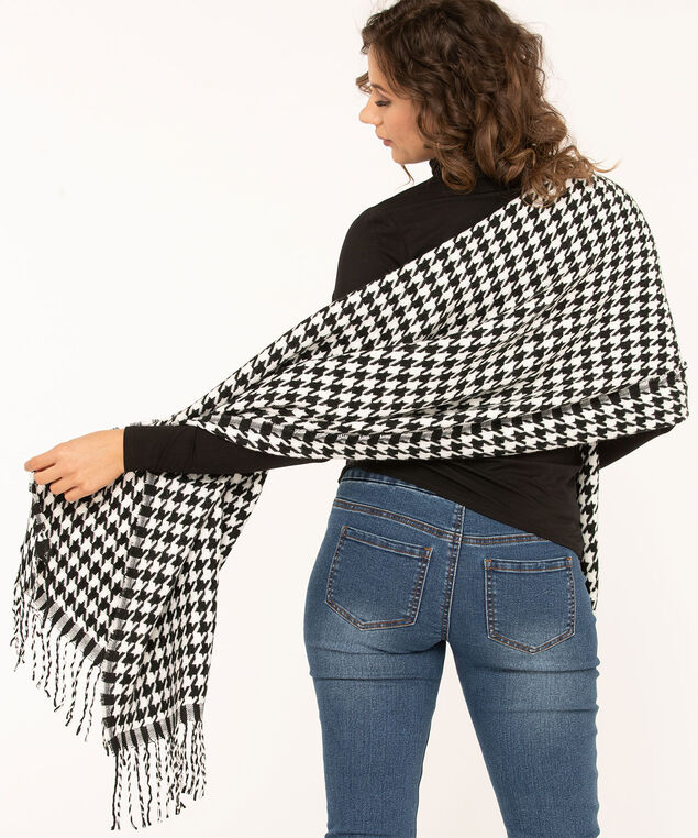 Textured Patterned Oblong Scarf, Black Houndstooth, hi-res