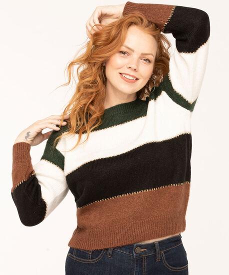Colour Block Striped Sweater, Dark Green/Ivory/Brown/Black, hi-res