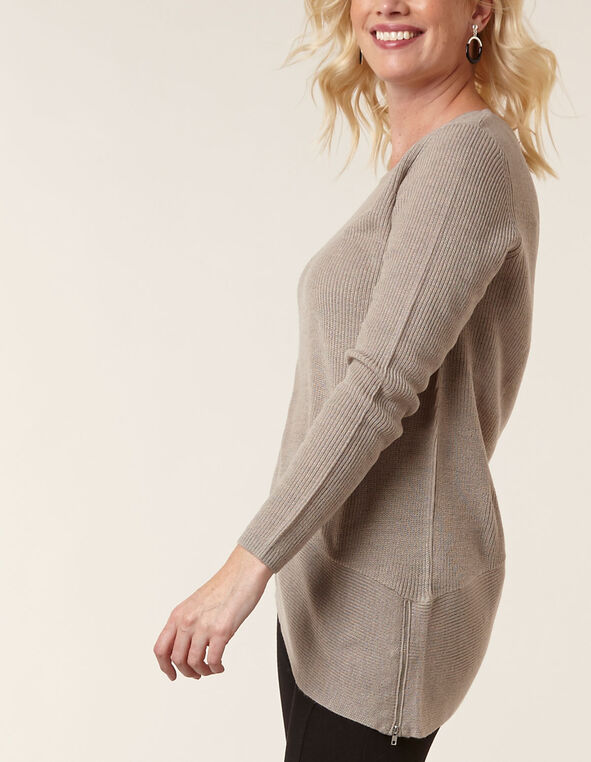 Tan Asymmetrical Pullover Sweater, Beige, hi-res