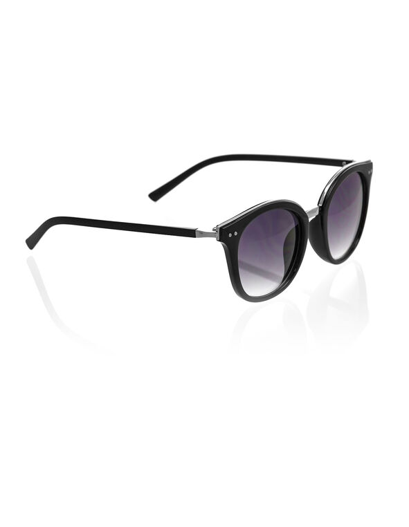 Black Rounded Wayfarer Sunglasses, Black, hi-res