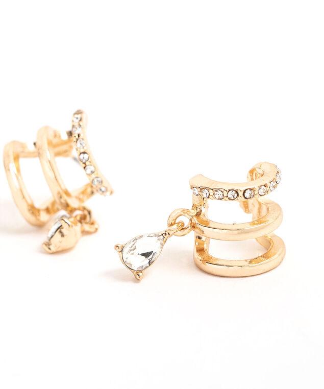 Gold Dangly Gem Earring, Gold
