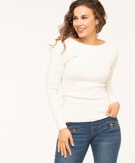 Ivory Lace Trim Overlay Sweater, Ivory, hi-res