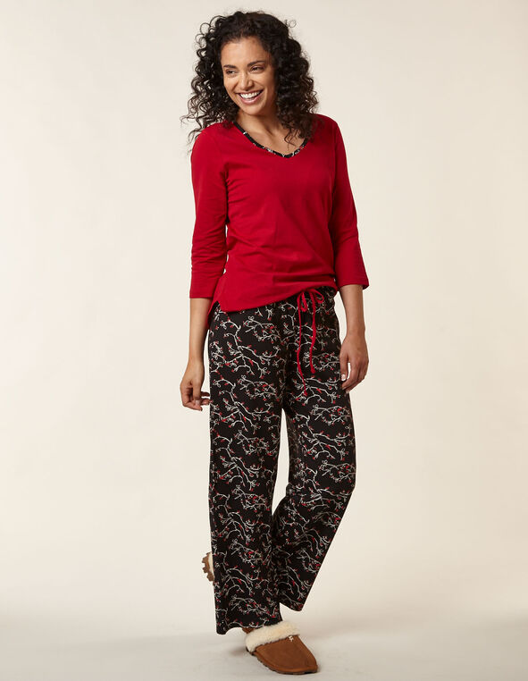 Red Cardinal Print Cotton Pyjama Set, Red/Black, hi-res