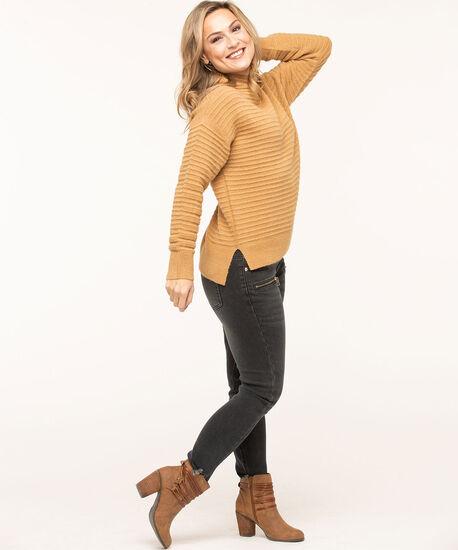 Ottoman Rib Mock Neck Sweater, Camel, hi-res