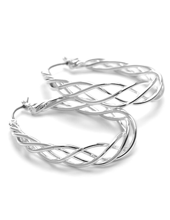 Silver Twisted Wire Hoop Earring, Silver, hi-res