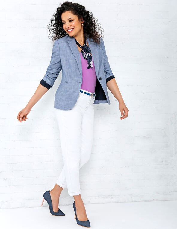 Navy Crosshatch Blazer Look, , hi-res