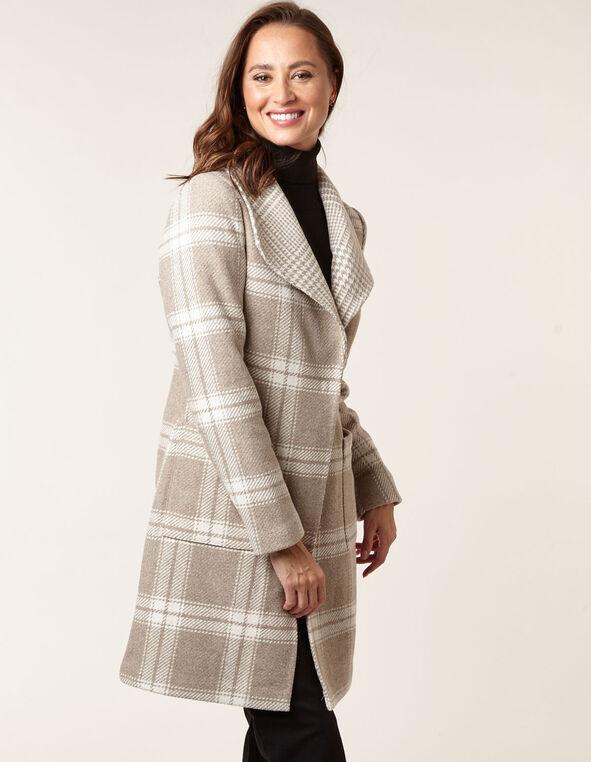 Camel Wool Blend Plaid Coat, Camel, hi-res
