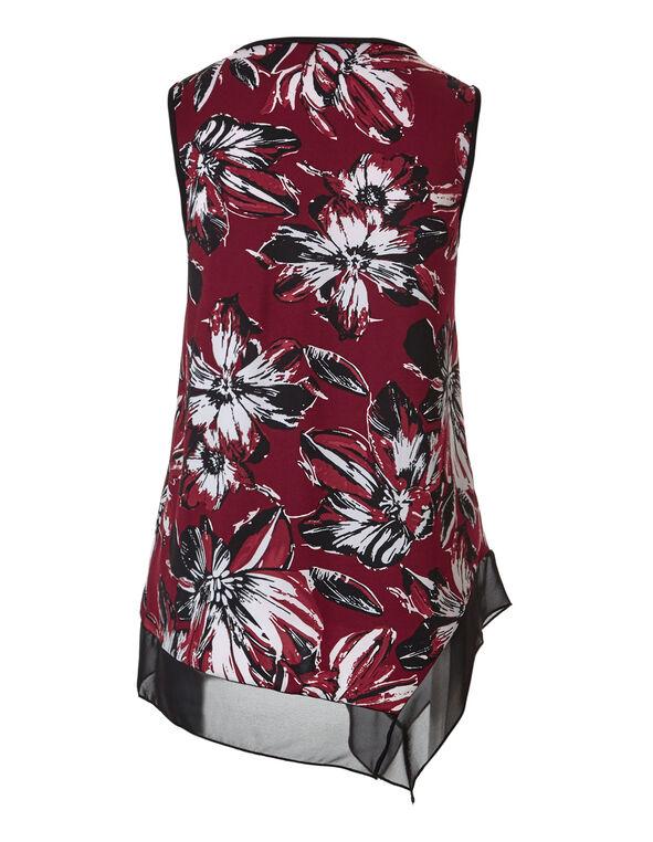 Claret Floral Chiffon Top, Claret/White/Lipstick/Black, hi-res