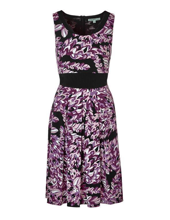 Claret Print Fit and Flare Dress, Claret/Black/Dusty Pink/White, hi-res