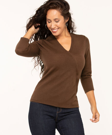 Brown V-Neck Wrap Front Sweater, Brown, hi-res